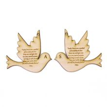 Personalised hanging wood Christmas 2 Turtle Doves with friendship & love verse